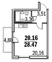 В однокомнатных квартирах маленький
